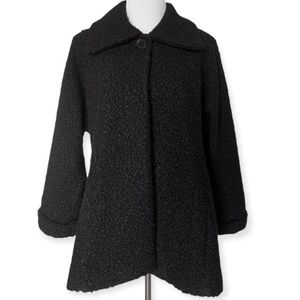 Pure Essence Teddy Swing Coat Buttoned Black NWT